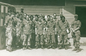 Dr. Marshall (right) with his team of medics at a clinic in Long Binh, Vietnam.